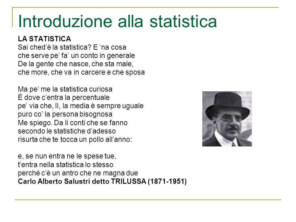 Introduzione alla statistica FASI DI UNA INDAGINE STATISTICA 5)Utilizzazione dei risultati della ricerca I risultati dellindagine devono essere utilizzati in conformità agli obiettivi che si erano prefissati allinizio.