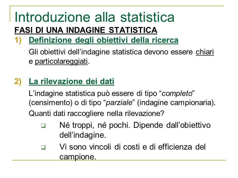 FASI DI UNA INDAGINE STATISTICA 1)Definizione degli obiettivi della ricerca Gli obiettivi dellindagine statistica devono essere chiari e particolaregg