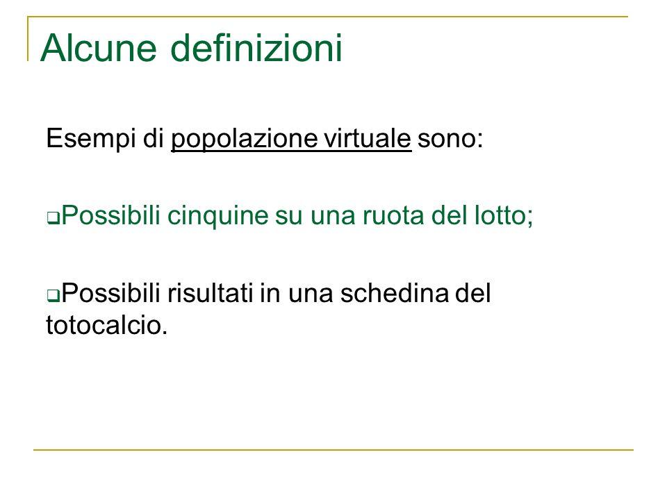 Alcune definizioni Esempi di popolazione virtuale sono: Possibili cinquine su una ruota del lotto; Possibili risultati in una schedina del totocalcio.