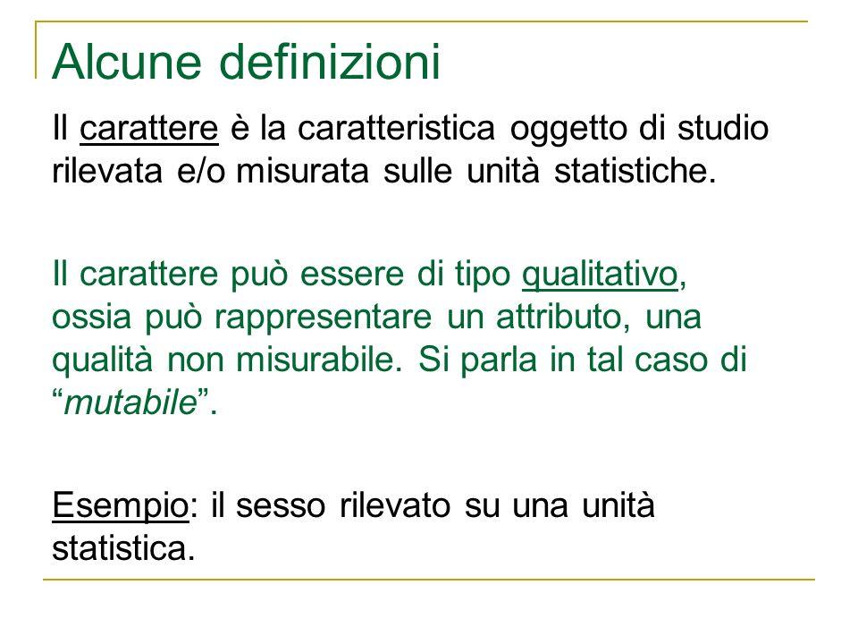 Alcune definizioni Il carattere è la caratteristica oggetto di studio rilevata e/o misurata sulle unità statistiche. Il carattere può essere di tipo q