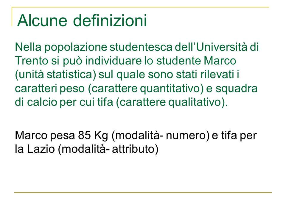 Alcune definizioni Nella popolazione studentesca dellUniversità di Trento si può individuare lo studente Marco (unità statistica) sul quale sono stati