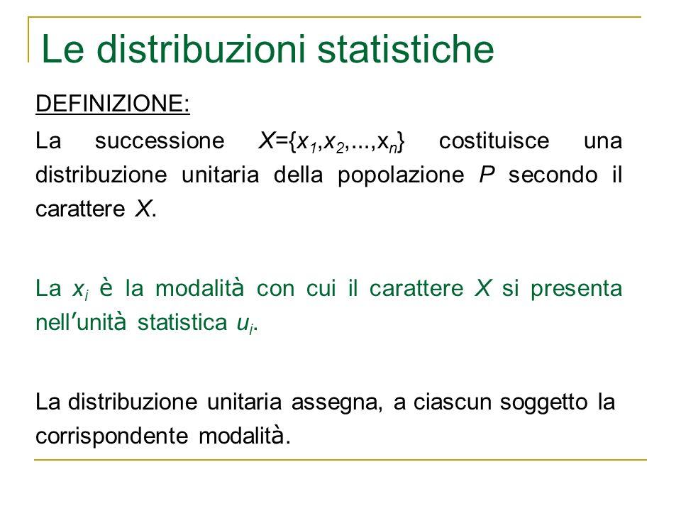 Le distribuzioni statistiche DEFINIZIONE: La successione X={x 1,x 2, …,x n } costituisce una distribuzione unitaria della popolazione P secondo il car
