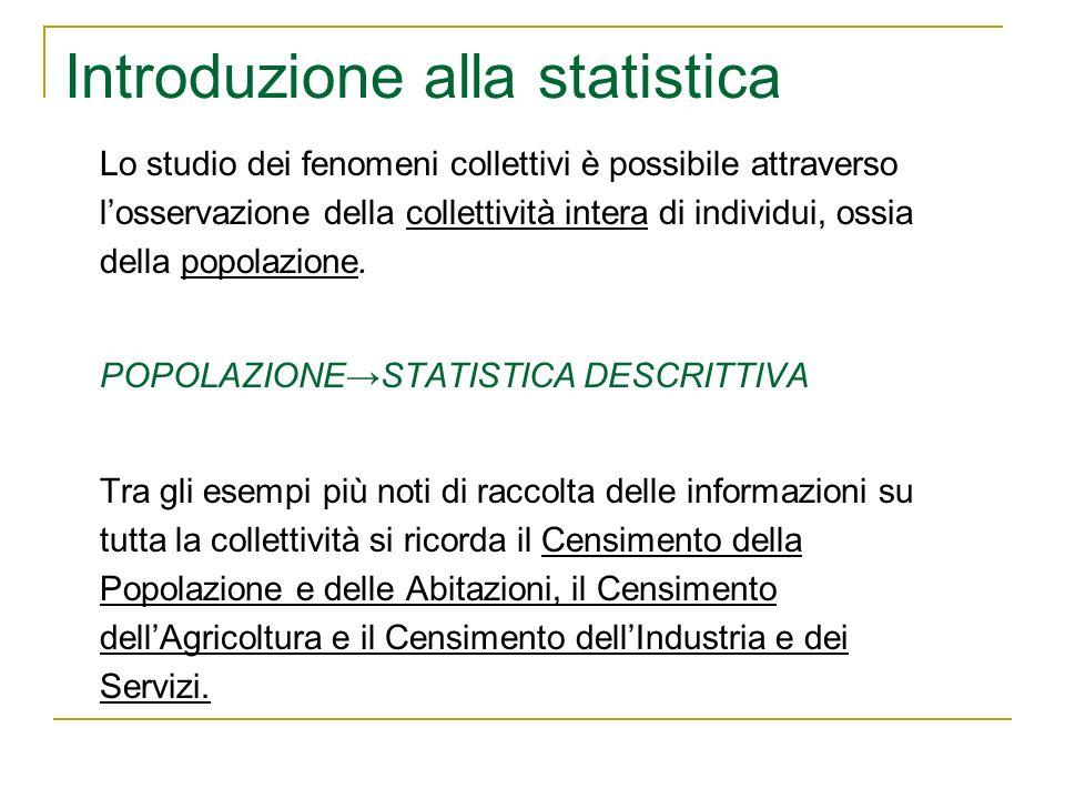 Introduzione alla statistica Lo studio dei fenomeni collettivi è possibile attraverso losservazione della collettività intera di individui, ossia dell