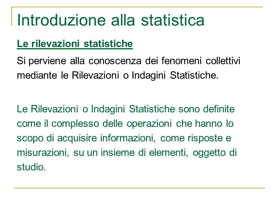 Introduzione alla statistica Le rilevazioni statistiche Si perviene alla conoscenza dei fenomeni collettivi mediante le Rilevazioni o Indagini Statist