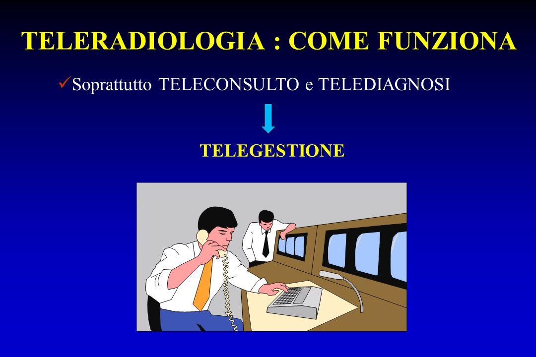 TELERADIOLOGIA : COME FUNZIONA Soprattutto TELECONSULTO e TELEDIAGNOSI TELEGESTIONE