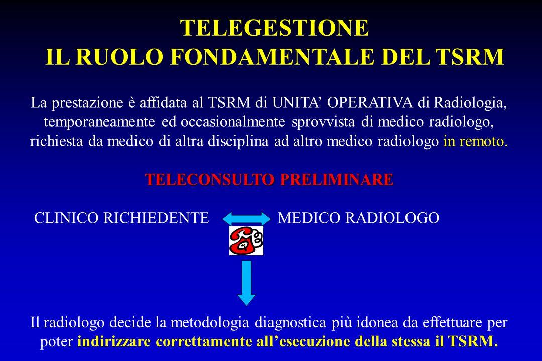 TELEGESTIONE IL RUOLO FONDAMENTALE DEL TSRM La prestazione è affidata al TSRM di UNITA OPERATIVA di Radiologia, temporaneamente ed occasionalmente spr