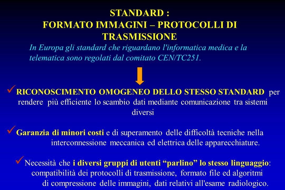 STANDARD : FORMATO IMMAGINI – PROTOCOLLI DI TRASMISSIONE In Europa gli standard che riguardano l'informatica medica e la telematica sono regolati dal