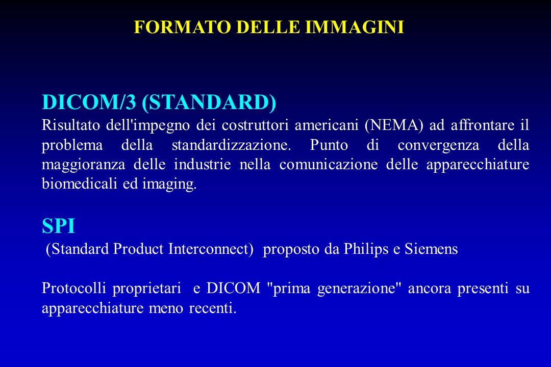 DICOM/3 (STANDARD) Risultato dell'impegno dei costruttori americani (NEMA) ad affrontare il problema della standardizzazione. Punto di convergenza del