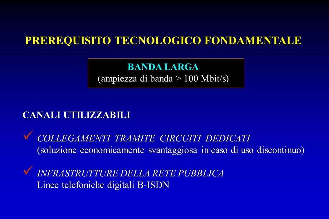 PREREQUISITO TECNOLOGICO FONDAMENTALE BANDA LARGA (ampiezza di banda > 100 Mbit/s) CANALI UTILIZZABILI COLLEGAMENTI TRAMITE CIRCUITI DEDICATI (soluzio