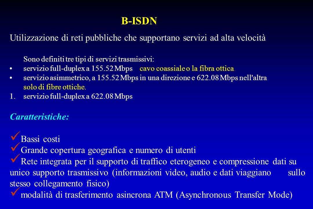 Caratteristiche: Bassi costi Grande copertura geografica e numero di utenti Rete integrata per il supporto di traffico eterogeneo e compressione dati