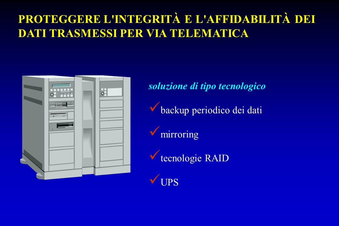 soluzione di tipo tecnologico backup periodico dei dati mirroring tecnologie RAID UPS PROTEGGERE L'INTEGRITÀ E L'AFFIDABILITÀ DEI DATI TRASMESSI PER V