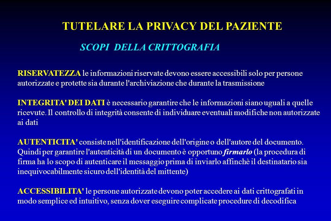 SCOPI DELLA CRITTOGRAFIA RISERVATEZZA le informazioni riservate devono essere accessibili solo per persone autorizzate e protette sia durante l'archiv
