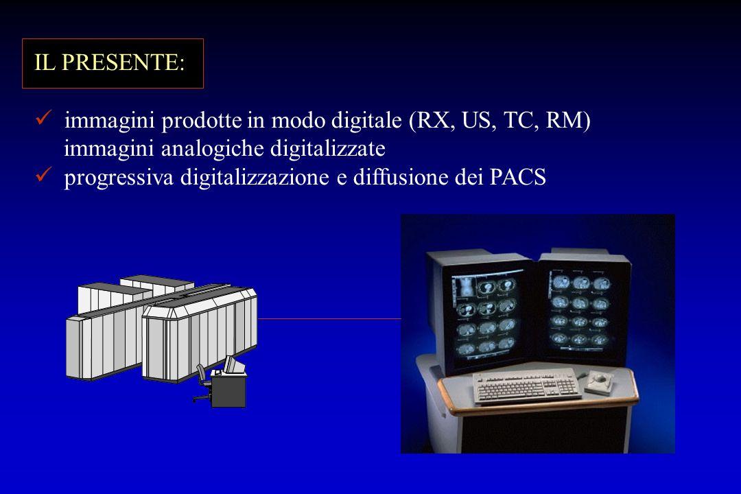 IL PRESENTE: immagini prodotte in modo digitale (RX, US, TC, RM) immagini analogiche digitalizzate progressiva digitalizzazione e diffusione dei PACS