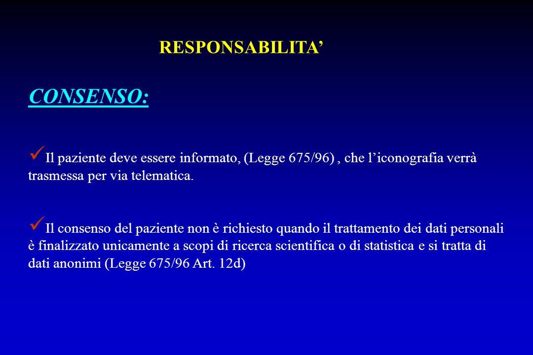 Il paziente deve essere informato, (Legge 675/96), che liconografia verrà trasmessa per via telematica. Il consenso del paziente non è richiesto quand