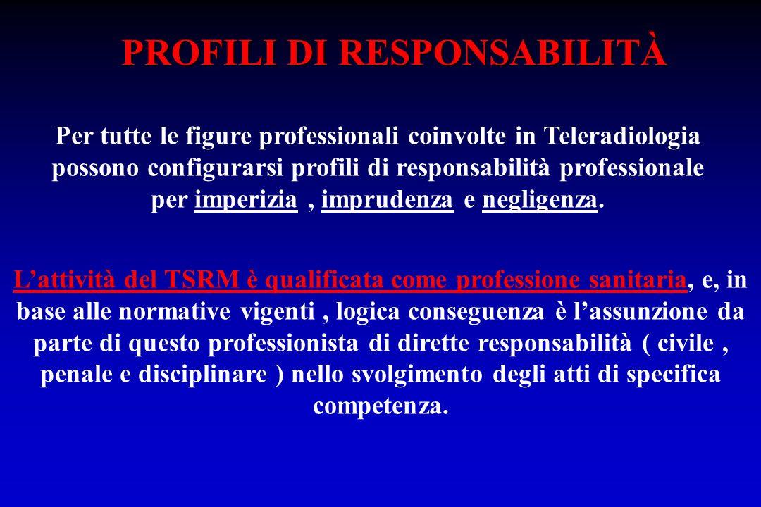 Per tutte le figure professionali coinvolte in Teleradiologia possono configurarsi profili di responsabilità professionale per imperizia, imprudenza e
