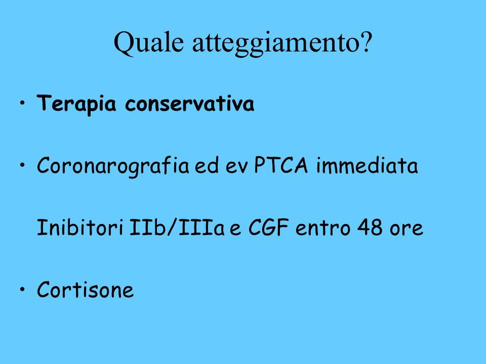 Quale atteggiamento? Terapia conservativa Coronarografia ed ev PTCA immediata Inibitori IIb/IIIa e CGF entro 48 ore Cortisone