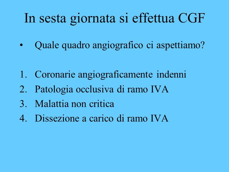 In sesta giornata si effettua CGF Quale quadro angiografico ci aspettiamo? 1.Coronarie angiograficamente indenni 2.Patologia occlusiva di ramo IVA 3.M