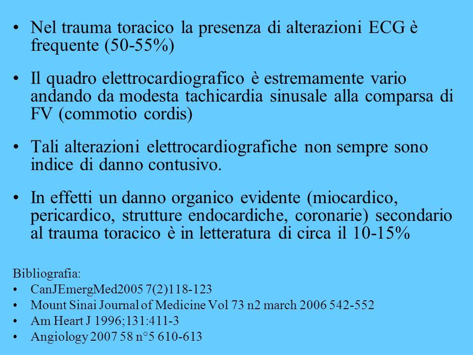Nel trauma toracico la presenza di alterazioni ECG è frequente (50-55%) Il quadro elettrocardiografico è estremamente vario andando da modesta tachica