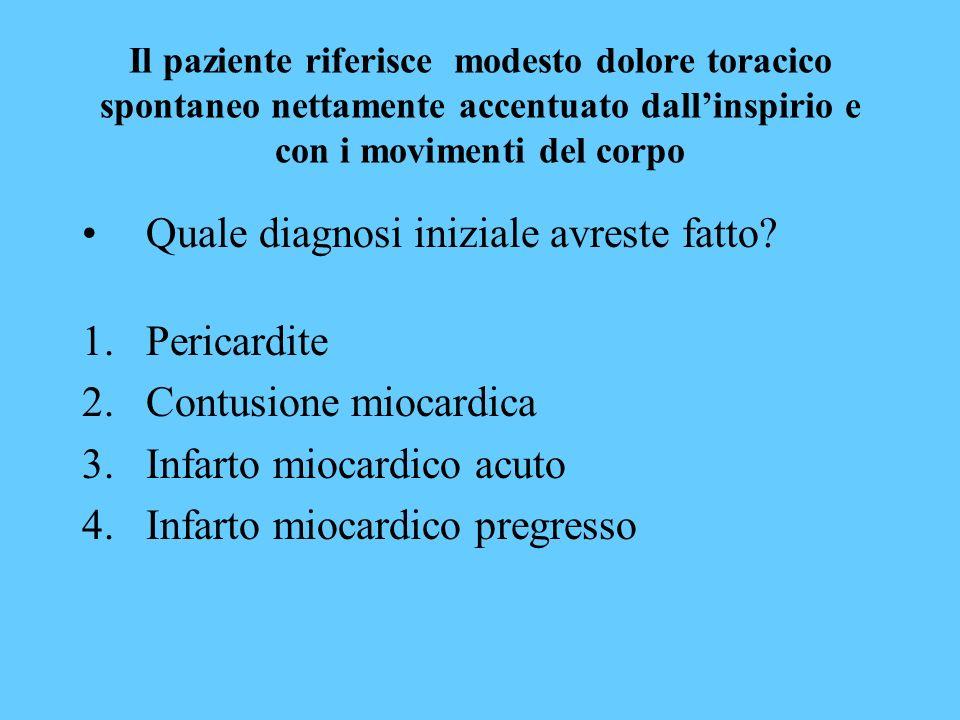 Il paziente riferisce modesto dolore toracico spontaneo nettamente accentuato dallinspirio e con i movimenti del corpo Quale diagnosi iniziale avreste