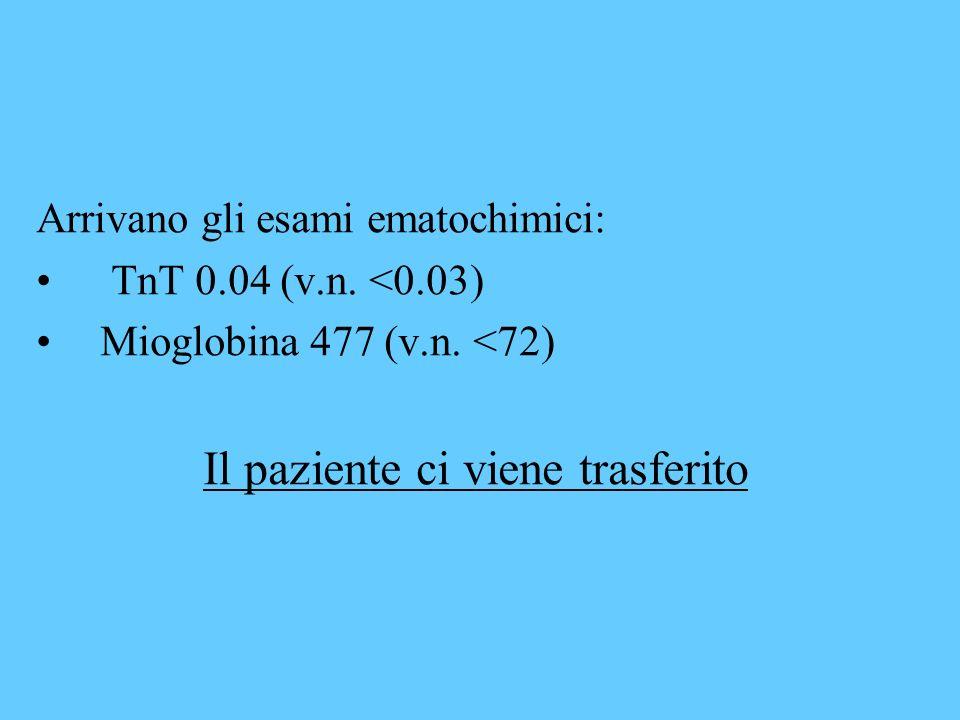 Arrivano gli esami ematochimici: TnT 0.04 (v.n. <0.03) Mioglobina 477 (v.n. <72) Il paziente ci viene trasferito