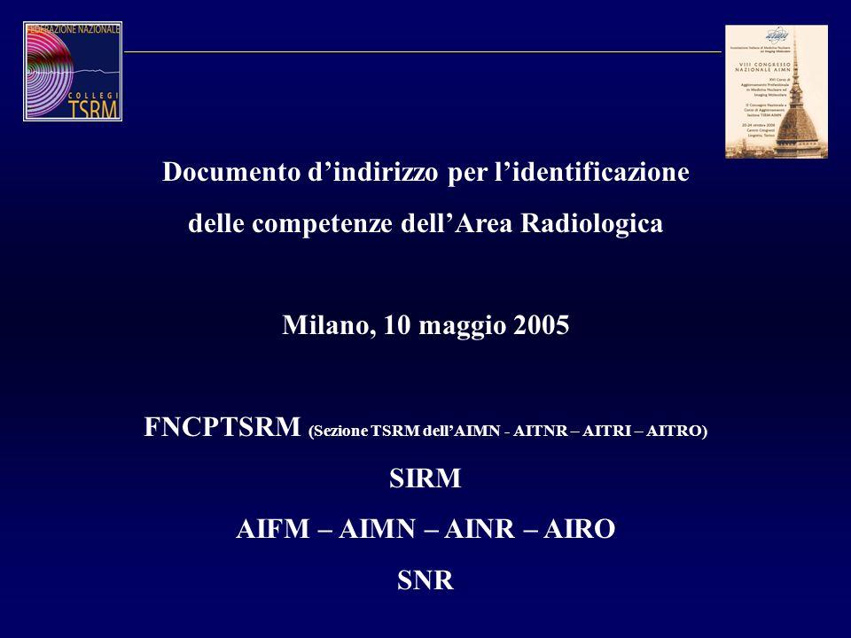 Documento dindirizzo per lidentificazione delle competenze dellArea Radiologica Milano, 10 maggio 2005 FNCPTSRM (Sezione TSRM dellAIMN - AITNR – AITRI
