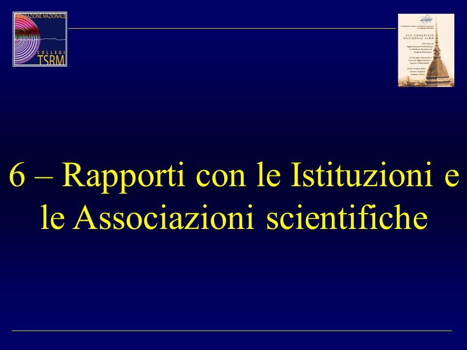 6 – Rapporti con le Istituzioni e le Associazioni scientifiche