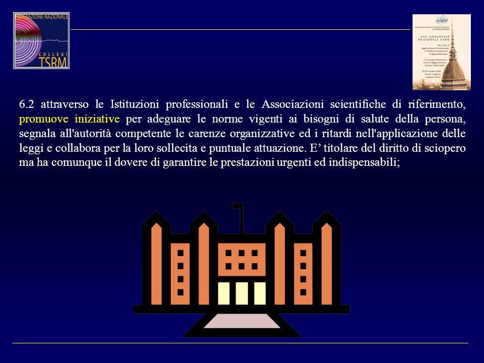 6.2 attraverso le Istituzioni professionali e le Associazioni scientifiche di riferimento, promuove iniziative per adeguare le norme vigenti ai bisogn