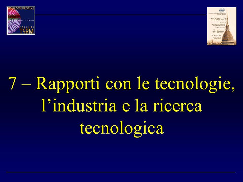 7 – Rapporti con le tecnologie, lindustria e la ricerca tecnologica