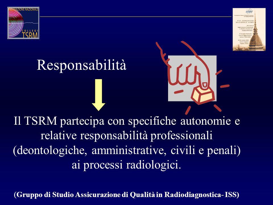 Il TSRM partecipa con specifiche autonomie e relative responsabilità professionali (deontologiche, amministrative, civili e penali) ai processi radiol