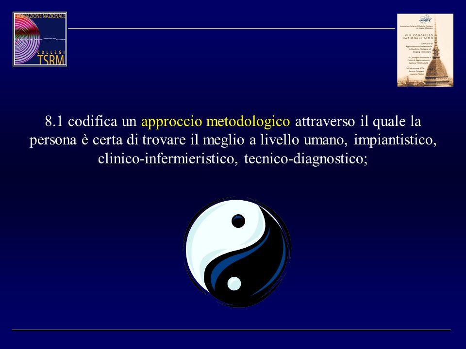 8.1 codifica un approccio metodologico attraverso il quale la persona è certa di trovare il meglio a livello umano, impiantistico, clinico-infermieris
