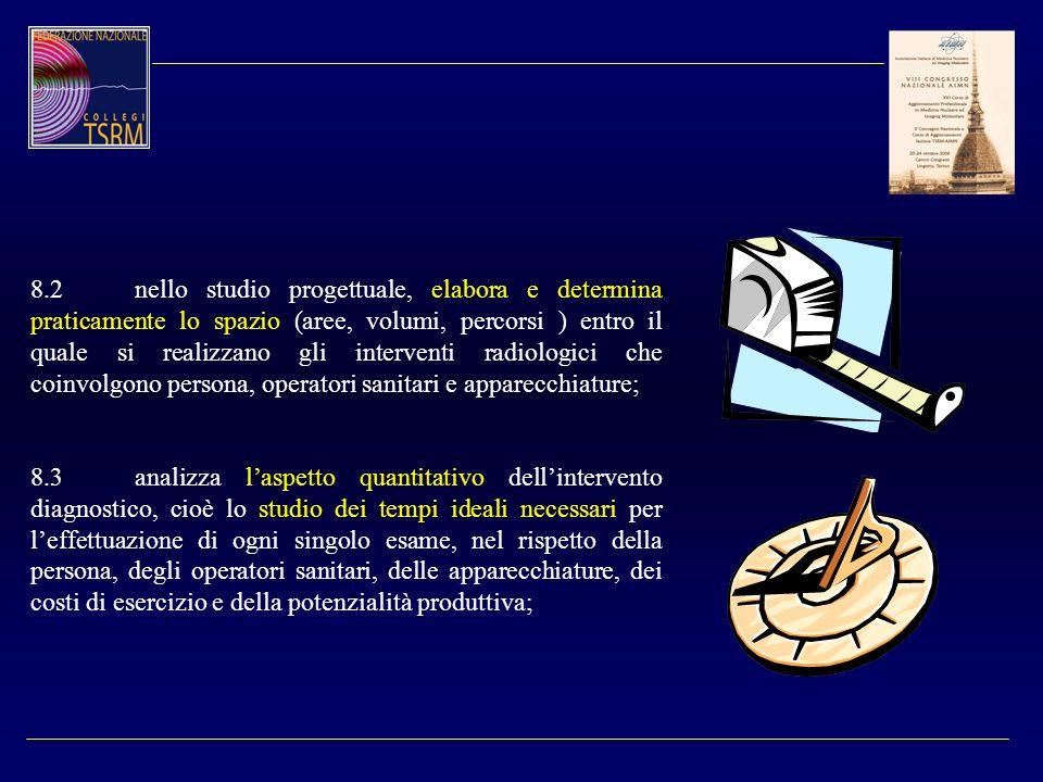 8.2nello studio progettuale, elabora e determina praticamente lo spazio (aree, volumi, percorsi ) entro il quale si realizzano gli interventi radiolog