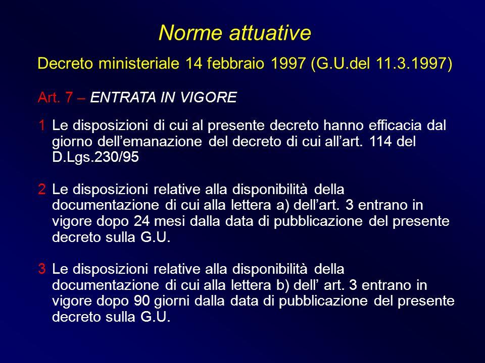 Art. 7 – ENTRATA IN VIGORE 1 Le disposizioni di cui al presente decreto hanno efficacia dal giorno dellemanazione del decreto di cui allart. 114 del D
