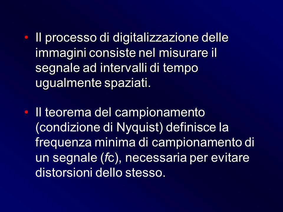 Il processo di digitalizzazione delle immagini consiste nel misurare il segnale ad intervalli di tempo ugualmente spaziati.Il processo di digitalizzaz