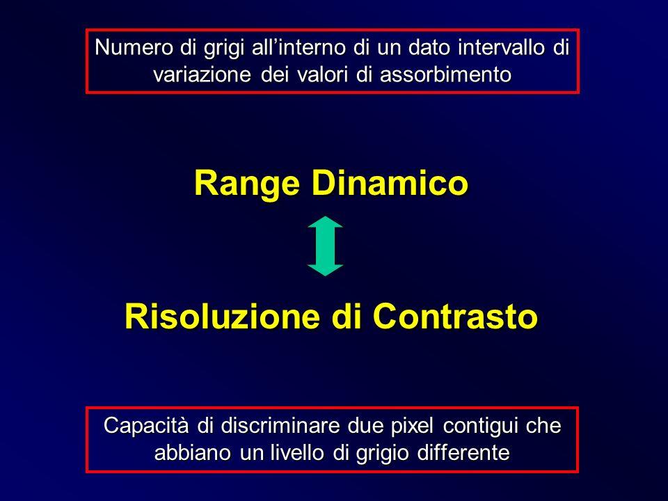 Capacità di discriminare due pixel contigui che abbiano un livello di grigio differente Range Dinamico Risoluzione di Contrasto Range Dinamico Risoluz