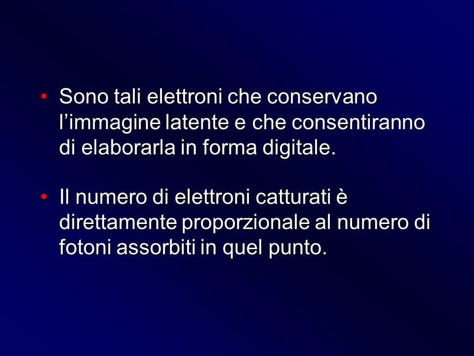 Sono tali elettroni che conservano limmagine latente e che consentiranno di elaborarla in forma digitale.Sono tali elettroni che conservano limmagine