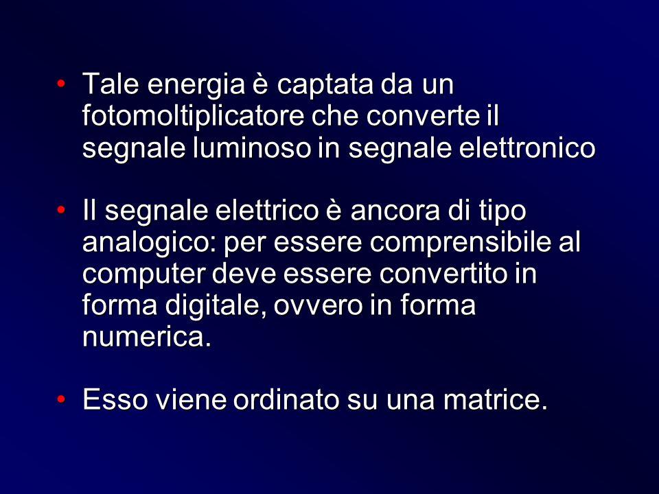 Tale energia è captata da un fotomoltiplicatore che converte il segnale luminoso in segnale elettronicoTale energia è captata da un fotomoltiplicatore