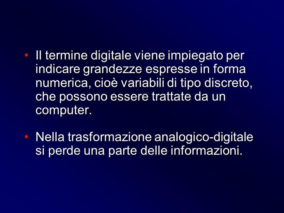 Il termine digitale viene impiegato per indicare grandezze espresse in forma numerica, cioè variabili di tipo discreto, che possono essere trattate da