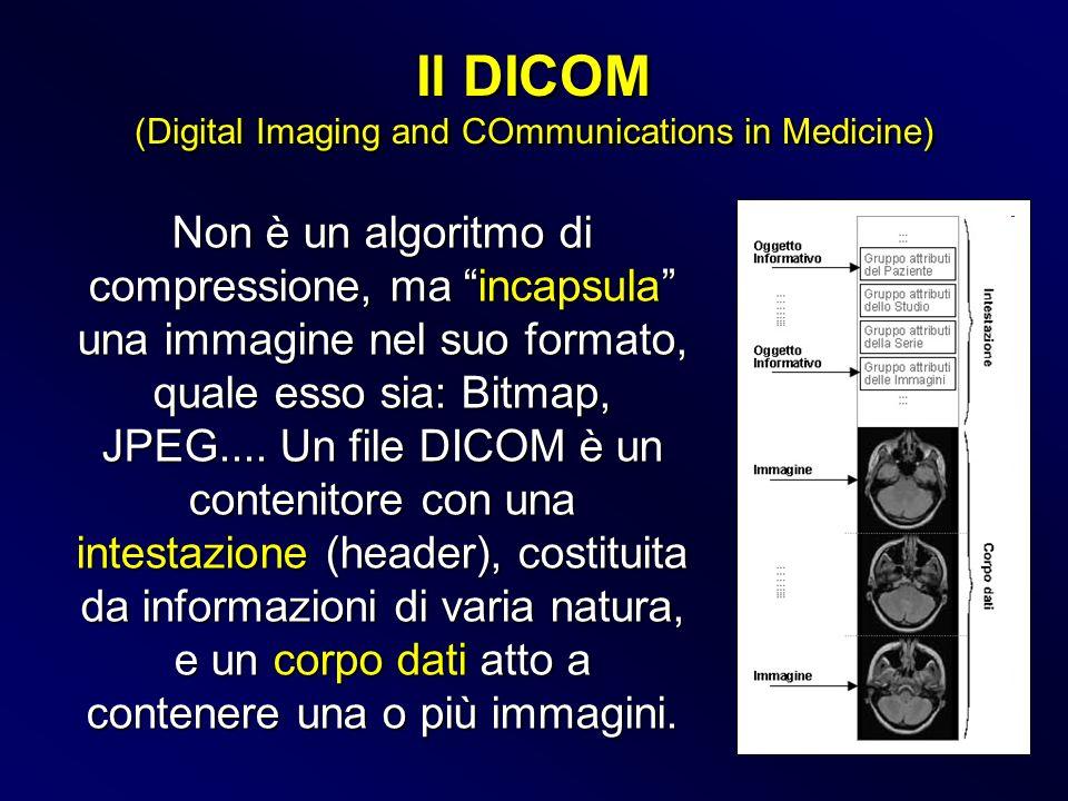 Non è un algoritmo di compressione, ma incapsula una immagine nel suo formato, quale esso sia: Bitmap, JPEG.... Un file DICOM è un contenitore con una