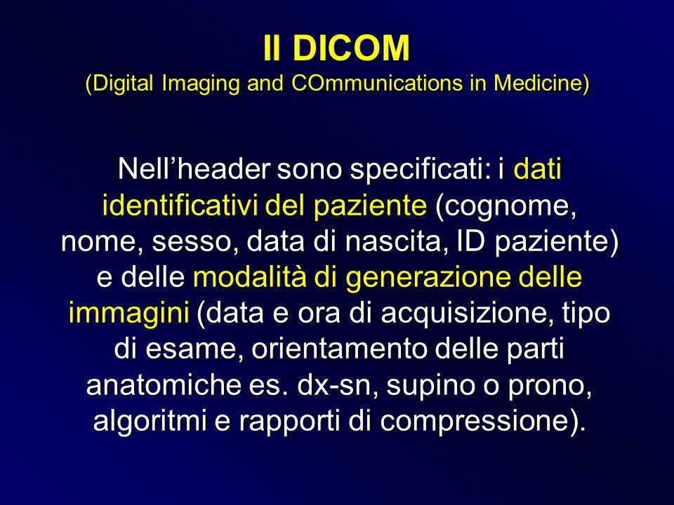 Nellheader sono specificati: i dati identificativi del paziente (cognome, nome, sesso, data di nascita, ID paziente) e delle modalità di generazione d