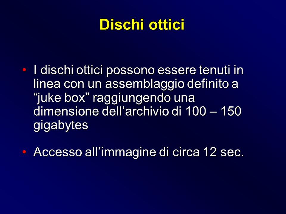 I dischi ottici possono essere tenuti in linea con un assemblaggio definito a juke box raggiungendo una dimensione dellarchivio di 100 – 150 gigabytes