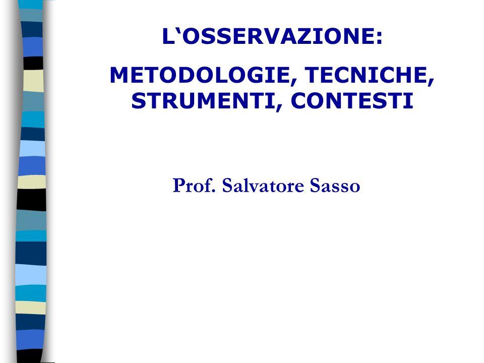 LOSSERVAZIONE: METODOLOGIE, TECNICHE, STRUMENTI, CONTESTI Progetto FSE OB.3 Misura C1 n. 20549 Prof. Salvatore Sasso