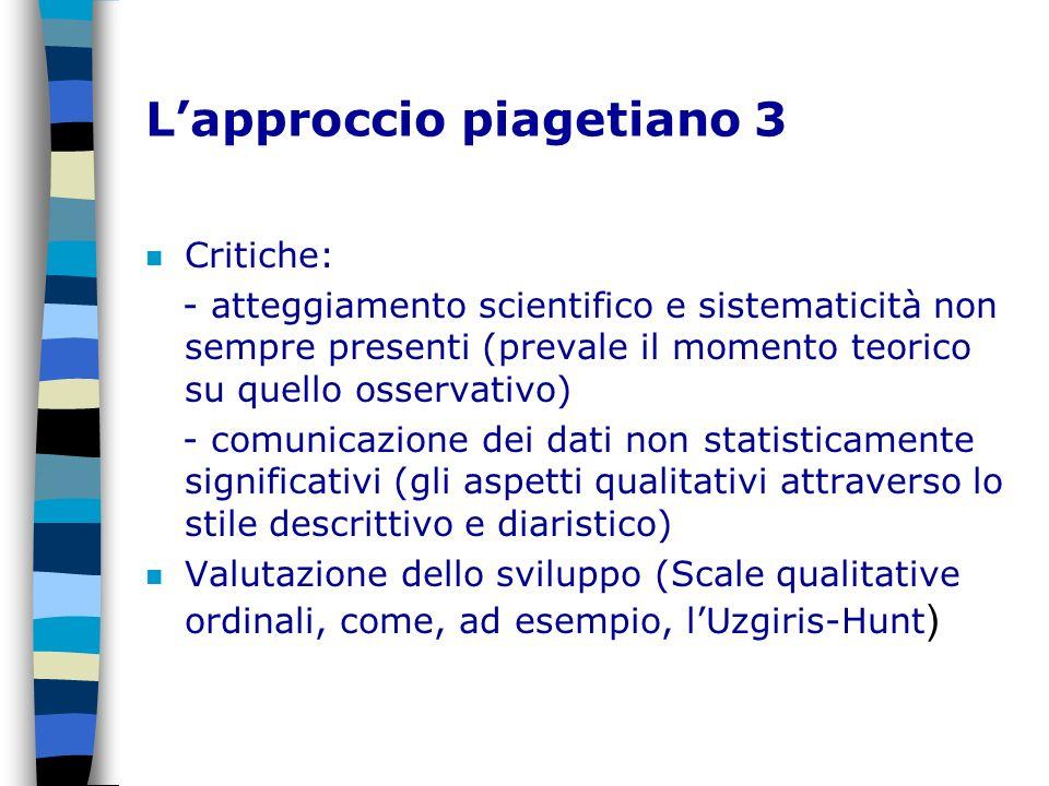 Lapproccio piagetiano 3 n Critiche: - atteggiamento scientifico e sistematicità non sempre presenti (prevale il momento teorico su quello osservativo)