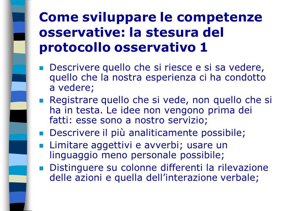 Come sviluppare le competenze osservative: la stesura del protocollo osservativo 1 n Descrivere quello che si riesce e si sa vedere, quello che la nos
