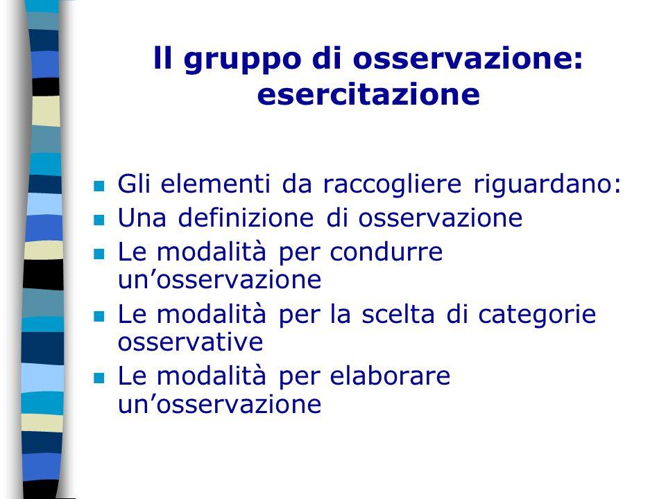 ll gruppo di osservazione: esercitazione n Gli elementi da raccogliere riguardano: n Una definizione di osservazione n Le modalità per condurre unosse