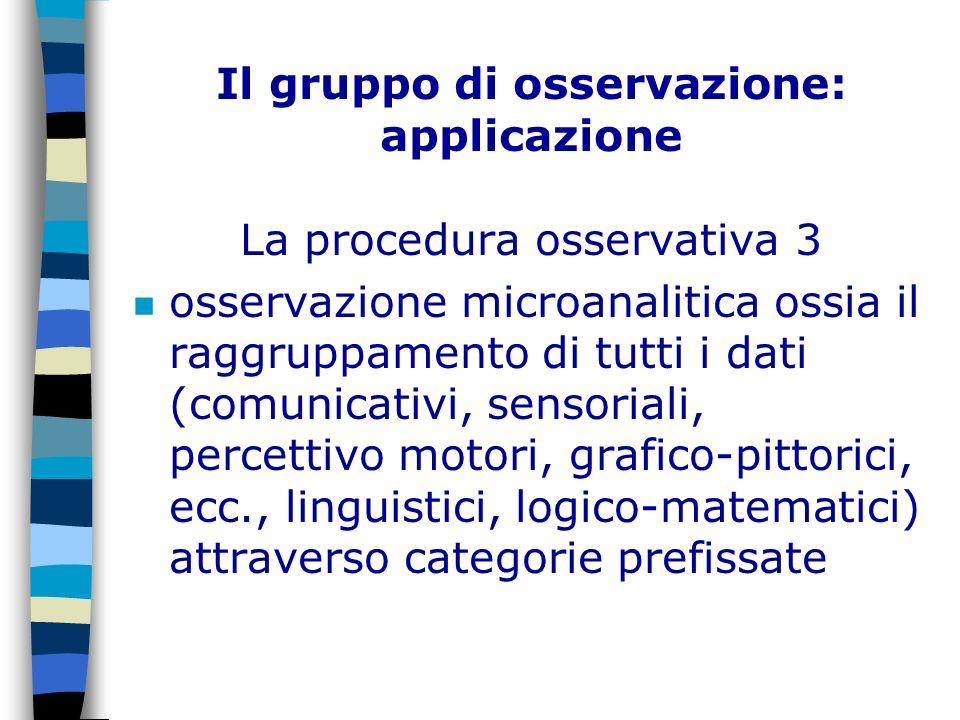 Il gruppo di osservazione: applicazione La procedura osservativa 3 n osservazione microanalitica ossia il raggruppamento di tutti i dati (comunicativi