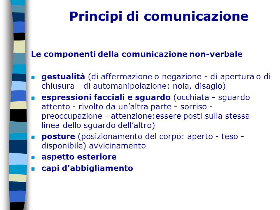 Principi di comunicazione Le componenti della comunicazione non-verbale n gestualità (di affermazione o negazione - di apertura o di chiusura - di aut