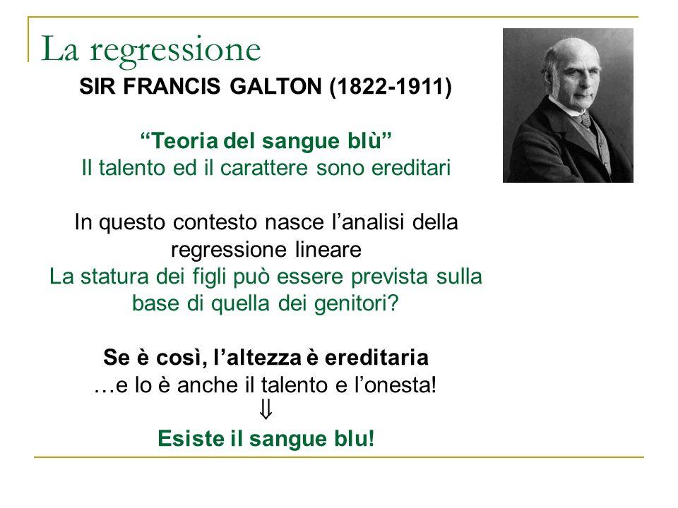 La regressione SIR FRANCIS GALTON (1822-1911) Teoria del sangue blù Il talento ed il carattere sono ereditari In questo contesto nasce lanalisi della