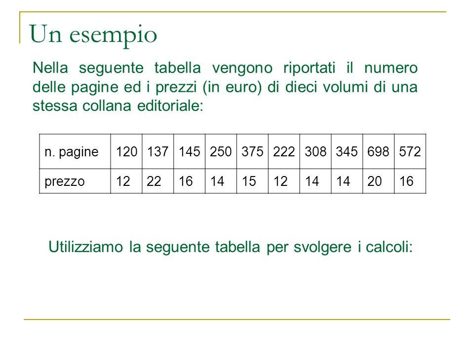 Un esempio Nella seguente tabella vengono riportati il numero delle pagine ed i prezzi (in euro) di dieci volumi di una stessa collana editoriale: n.