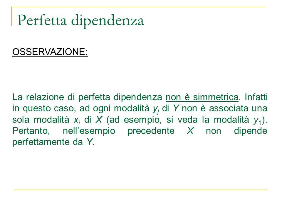 Perfetta dipendenza OSSERVAZIONE: La relazione di perfetta dipendenza non è simmetrica. Infatti in questo caso, ad ogni modalità y j di Y non è associ