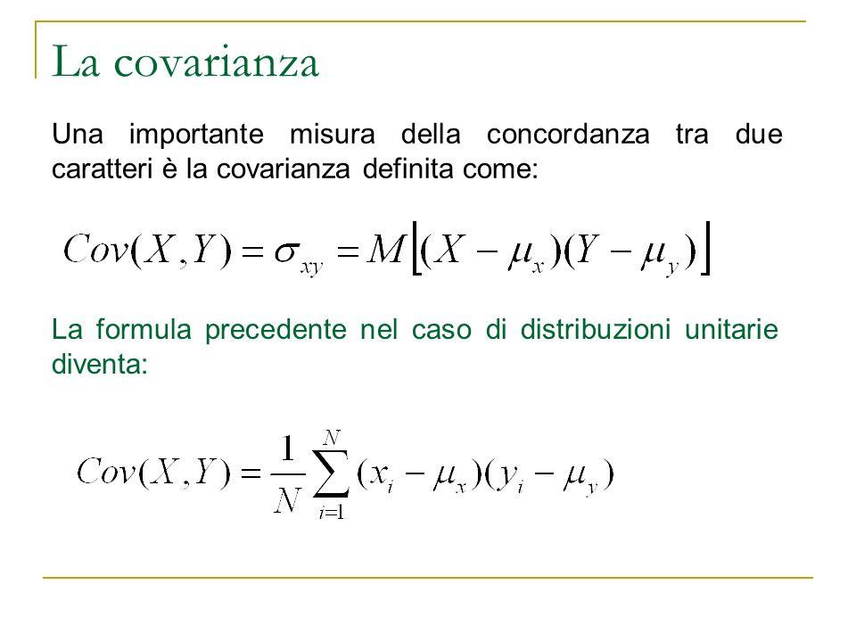 La covarianza. Una importante misura della concordanza tra due caratteri è la covarianza definita come: La formula precedente nel caso di distribuzion
